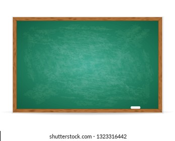 Realistic green chalkboard with wooden frame isolated on white background. Rubbed out dirty chalkboard. Empty school chalkboard for classroom or restaurant menu. Vector template blackboard for design