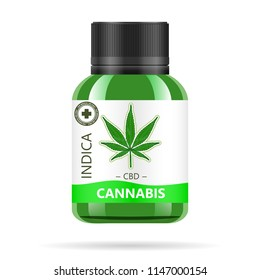 Realistic green glass bottle with cannabis. Mock up of hemp oil extracts, tablets or capsules in jars. Medical Marijuana logo on the label. Vector illustration