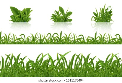 Realistic green grass. 3D fresh spring plants set. Vector isolated illustration bunch herbs on tussock on white background