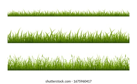 Realistic green grass lawn, border or meadow vector illustration set. Horizontal seamless background