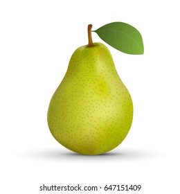 realistic green pear isolated on white background. Vector illustration.