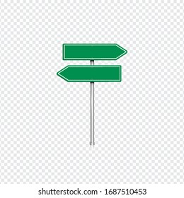 Realistic green road sign with transparent background, vector illustration