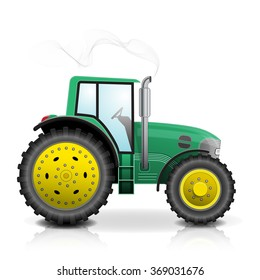 Realistic green tractor icon, logo, shape with big wheels isolated with smoke on white background.