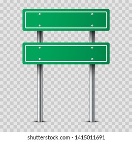 Realistic green traffic sign on metal pole isolated on transparent background. Two blank traffic road empty sign. Mock up template for your design.