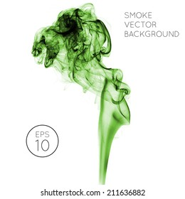 Realistic green vector smoke on white background. smoke from a cigarette or smoldering objects