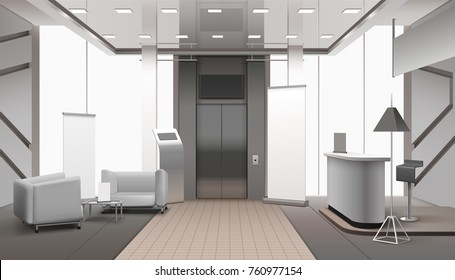 Realistic grey color lobby interior with lift, reception counter, waiting area, tiled and carpet floor vector illustration