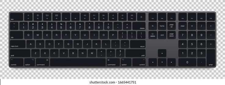 Realistic Grey Galaxy color computer bluetooth keyboard on transparent background. Vector illustration