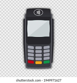 Realistic grey Payment Machine. POS Terminal Closeup Isolated on Transparency Grid Background. Design Template of Bank Payment Terminal, Mockup. Processing NFC payments device. Top View vector eps 10