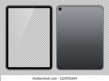 Realistic Grey / Space Gray Drawing Pad with Transparent Screen. 11 inch Scalable Tablet. Front and Back Display View. High Detailed Device Mockup. Separate Groups and Layers. Easily Editable Vector