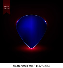 Realistic guitar pick with glowing effect. Music concept. Vector background illustration.