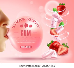 Realistic gum composition with human hands bubblegum with editable text and whirlwind of berries and gum pieces vector illustration