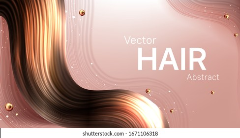 Realistic hair abstract vector poster, wavy brown earlock strand on smooth beige background with golden pearls. Beauty salon, cosmetics product or shampoo advertising banner template, 3d illustration