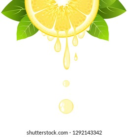 Realistic half lemon slice with leaves and drops of juice. Juicy fruit. Fresh citrus design on white background vector illustration