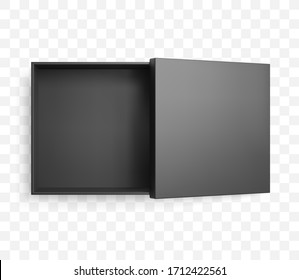 Realistic half open square black box and lid with shadow. Top view vector mockup