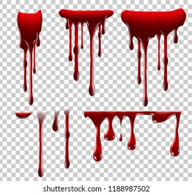 Realistic Halloween blood isolated on transparent background. Drops and splashes. Can be used on design, medical, healthcare, flyers, banners or web. Vector illustration. EPS 10.