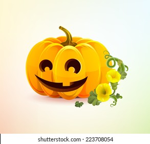 Realistic Halloween pumpkin with a carved face of it.