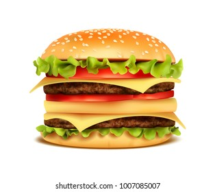 Realistic Hamburger Classic Burger American Cheeseburger with Lettuce Tomato Onion Cheese Beef and Sauce Close up isolated. Fast Food