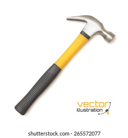 Realistic hammer icon, isolated on white background. Vector illustration