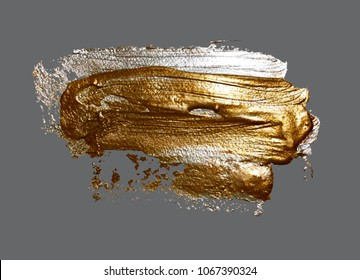 realistic hand drawing golden brush stroke paint spot, handmade vector illustration