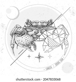 Realistic hand drawing and polygonal crab illustration. Magic card with Cancer zodiac sign