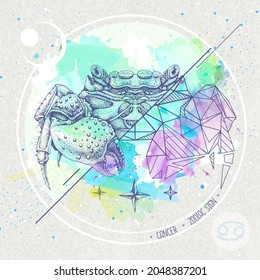 Realistic hand drawing and polygonal crab illustration on watercolor background. Magic card with Cancer zodiac sign