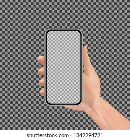 Realistic hand holding smartphone with empty touchscreen isolated on transparent background. Man, woman or human using mobile phone design concept. Vector illustration