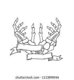 Realistic hand skeleton with bones details in white background. Vector illustration. Handmade black line digital art. Anatomy drawing with tape and a blank space to place o name or a sentence.