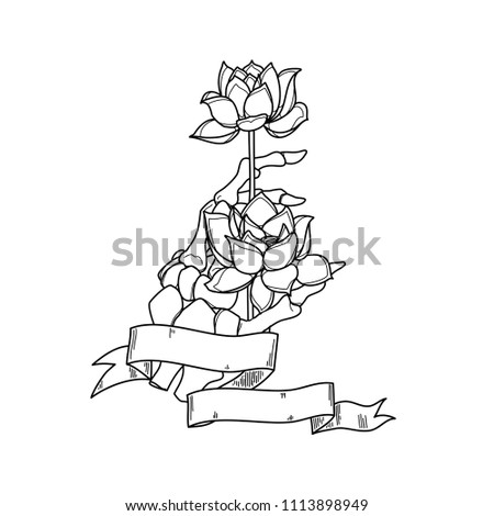 Realistic hand skeleton lotus flower white stock vector royalty realistic hand skeleton with lotus flower in white background vector illustration handmade black line mightylinksfo