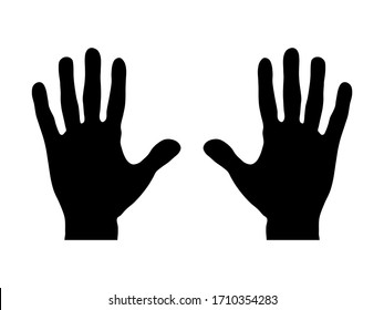 Realistic Hand with Wrist Silhouette Icons. Vector Image.