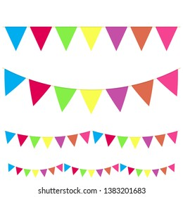 Realistic hanging color buntings garland flag set different type for celebrate holiday. Vector.