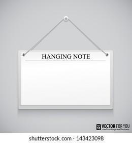 Realistic hanging empty advertisement canvas, panel, billboard, banner. Design element