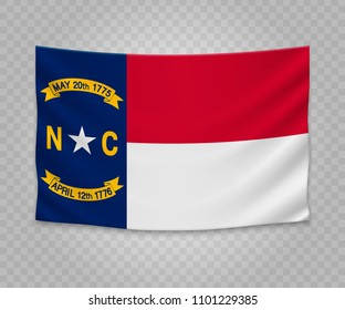 Realistic hanging flag of North Carolina. State of USA. Empty  fabric banner illustration design.