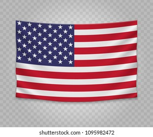 Realistic hanging flag of United States. Empty  fabric banner illustration design.