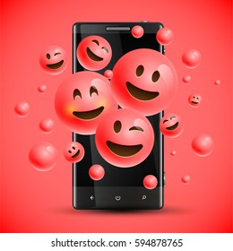 Realistic happy red emoticons in front of a cellphone, vector illustration