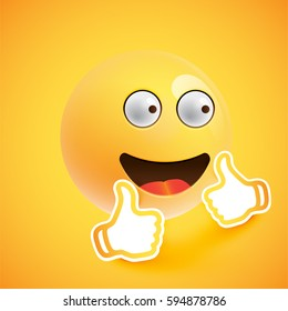 Realistic happy smiley with thumbs up, vector illustration