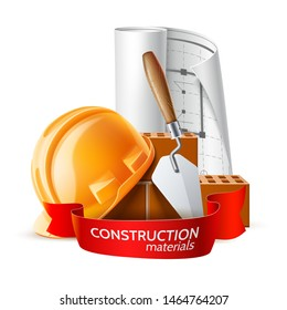 Realistic hard hat, blueprint, mortar trowel and bricks. Industrial worker pattern. Construction workers, bricklayer and masonry equipment. Vector craftsman pattern, labour day design.
