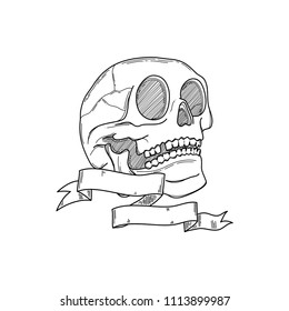 Realistic head skeleton with bones details in white background. Vector illustration. Handmade black line digital art. Anatomy drawing with ribbon and a blank space to place o name or a sentence.
