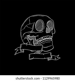 Realistic head skeleton with bones details in bkack background. Vector illustration. Handmade black line digital art. Anatomy drawing with ribbon and a blank space to place o name or a sentence.