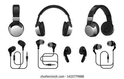 Realistic headphones. 3D wireless earphones and headset for listening music and gaming. Vector collections types of black earbuds isolated on white background