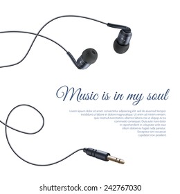 Realistic headphones headset sound equipment accessory music poster vector illustration