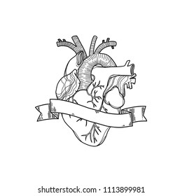 Realistic heart icon in white background. Vector illustration. Handmade black line digital art. Anatomy drawing with tape and a blank space to place o name or a sentence.