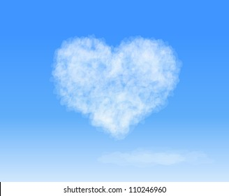 Realistic Heart shaped cloud in the blue sky. Valentine`s day. Vector background