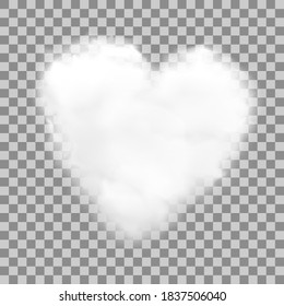 Realistic heart shaped white cloud with transparency