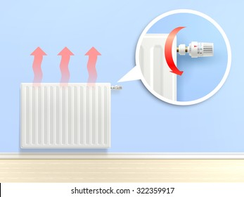 Realistic heating radiator with temperature knob in zoom vector illustration