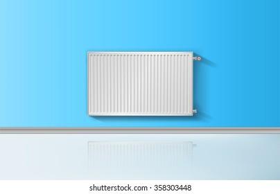 Realistic heating radiator with temperature knob vector illustration