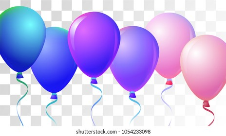 Realistic Helium Balloons Vector Color Collection. Birthday Party, Music Festival, Carnival, Event Decoration, Present Card. Flying Airy Realistic Helium Balloons Bunch Set on Transparent Background