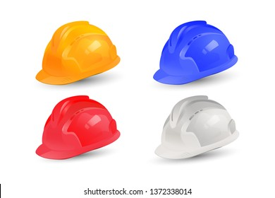 Realistic Helmet vector collection design. Set of safety hats with multi color in EPS10 vector illustration.