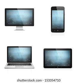 Realistic high detailed vector illustration of electronic devices with water drops wallpaper on screen isolated on white background