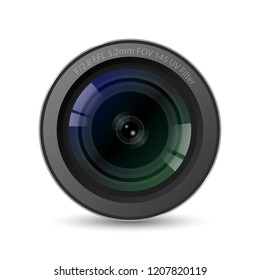 Realistic High Quality camera lens with white background, vector Illustration.