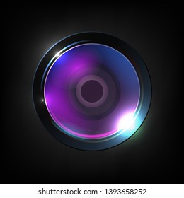 Realistic High Quality Photo Optical Lens Vector. Lens Used For Still Video Camera, Telescope, Microscope And Smartphone Or Other Apparatus. Purple Photographer Equipment 3d Illustration